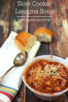 Garlic, onion and spicy Italian sausage give this Slow Cooker Lasagna Soup incredible flavor!