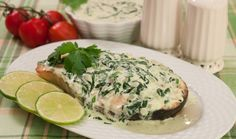 Baked salmon topped with spinach sauce