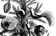 Vintage Christmas Tree Drawing