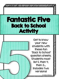 FREE Back to School Activity - a fun and quick way to learn a little bit more about your new students!