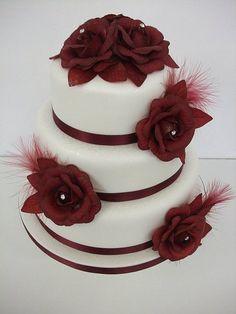 Burgundy rose wedding cake