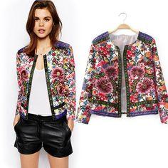 Embroidered jacket Women's Ethnic Style Vintage Embroidered Flower Jacket Long Sleeve Round Neck Short Coat Jacket
