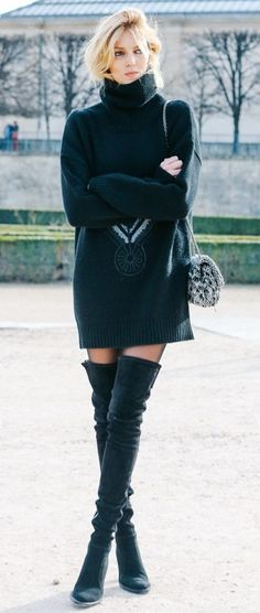 jumper dress. over the knee boots.