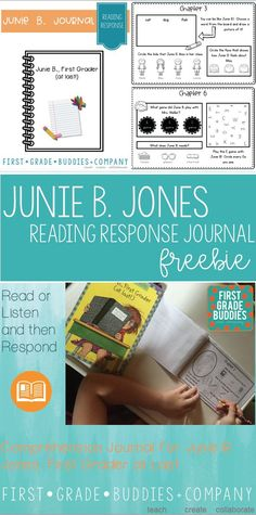 """This FREE Junie B. Jones reading response journal is going to be a hit with your Kindergarten, 1st, and 2nd grade students. Use it with the book """"Junie B, First Grader: (at Last!)"""". This freebie asks students to be actively thinking about text and responding to text to show their thinking. It's great for a balanced literacy approach to your reading lessons, a novel study, or literature circles. Grab it today! {K, first, second graders}"""