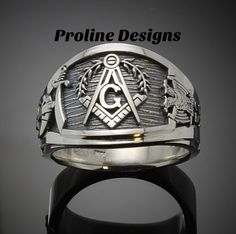 Masonic Ring for Men in Sterling Silver ~ Cigar Band Style 027ss