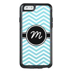 Sky Blue and White Chevron Monogrammed OtterBox iPhone 6/6s Case