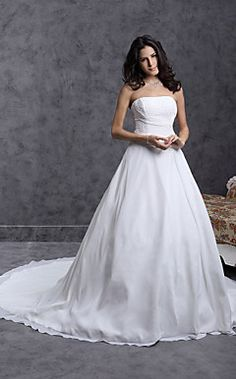 Ball Gown Strapless Cathedral Train Chiffon Over Satin Weddi... – USD $ 195.99