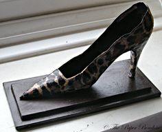 Leopard print stiletto shoe paper sculpture by ThePaperBoudoir