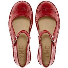 Ymc Red Mary Jane Flat Shoes ($310) ❤ liked on Polyvore