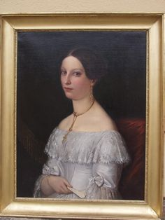Portrait of a young lady signed by Albert Gräfle and dated 1838 from chateau on Ruby Lane... Shows some wonderful Day to Night earrings and the hairstyle with which they were worn.