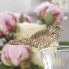 gold laser cut lace bird glass place card by ginger ray | notonthehighstreet.com