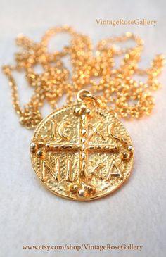 Byzantine Necklace, Coin Necklace, Byzantine Cross, Christmas Gift, Byzantine Cross Necklace by VintageRoseGallery Etsy Jewelry, Jewelry Shop, Jewelry Stores, Handmade Jewelry, Boho Jewelry, Jewelry Accessories, Handmade Items, Gemstone Bracelets, Bracelets For Men