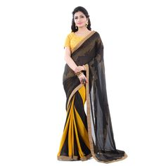 Faux Georgette Lace Work Printed Black & Yellow Half & Half Saree - 35003