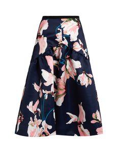 Malia Kayo Lily print duchess-satin skirt | Erdem | MATCHESFASHION.COM