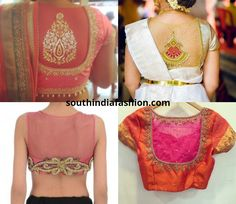 Sheer back blouses are truly exotic. They look equally interesting with your elegant pattu sarees as with your fancy designer sarees Netted Blouse Designs, Blouse Designs High Neck, Pattu Saree Blouse Designs, Net Blouses, Indian Blouse, Indian Wear, Stylish Blouse Design, Blouse Models, Blouse Patterns