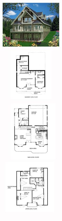 Hillside House Plan 85365 | Total Living Area: 2354 sq. ft., 3 bedrooms and 3 bathrooms. Plans copyright by designer. #hillsidehome