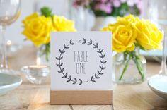 Wedding Table Numbers - Printable Wreath Design