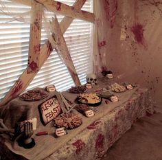 Zombie Apocalypse Party Package They say life ends at so for my birthday I held a zombie party. (It's a warm fuzzy feeling to . Halloween Zombie, Halloween Party Themes, Halloween Tags, Halloween Food For Party, Halloween 2018, Holidays Halloween, Halloween Party Ideas For Adults, Vampire Halloween Party, Creepy Halloween Food