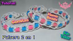 ♥ Tutorial: Pulsera 2 en 1 con hama o gomitas (sin telar) ♥