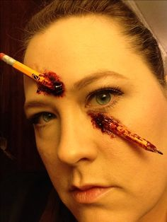 "Marissa's Makeup looks for 2013. I call this one ""Ouch"". It's a real broken pencil, liquid latex, & thick blood."