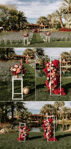 This Retro Glam Bougainvillea Estate Wedding was Inspired by Frank Sinatra and Desert Blooms Modern decor + vibrant pink blooms made a statement at this outdoor summer ceremony Wedding Ceremony Ideas, Outdoor Wedding Seating, Diy Outdoor Weddings, Wedding Reception Flowers, Outdoor Wedding Decorations, Wedding Chairs, Retro Wedding Flowers, Retro Wedding Decor, Ghost Chair Wedding