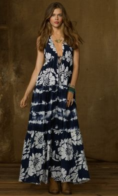 Tie-Dye Tiered Jersey Dress - Denim & Supply  Maxi Dresses - RalphLauren.com