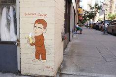 Bi-Curious George, George Clooney Themed Street Art by Hanksy