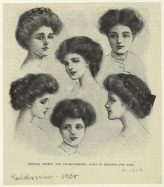 "The Gibson Girls Guide to Glamor: Natural Beauty, Victorian Beauty and Edwardian Fashion: May Madness!!! 1908: ""Several Pretty and Characteristic Ways of Dressing the Hair."" Most of the styles incorporate a thick braid, which is almost certainly a hairpiece. Also note the fluffy, loose-looking way the hair is rolled back around the face. To get the right look, don't slick down your hair or pull it tight."