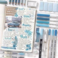 Blue Bullet Journal Inspiration {From weeklies to mood trackers!} - - If you need a theme for next month you'll love this blue bullet journal inspiration! So much BUJO eye candy to inspire you! Bullet Journal School, Bullet Journal Aesthetic, Bullet Journal Notebook, Bullet Journal Ideas Pages, Bullet Journal Spread, Bullet Journal Inspo, Bullet Journal Layout, Journal Pages, Bullet Journal Essentials