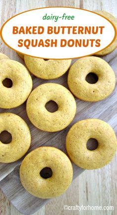 This easy dairy-free baked butternut squash donuts recipe is easy fun and delicious for a snack or on-the-go breakfast. The butternut squash donuts are baked instead of fried delicious and perfect for fall season friendly meal. Donut Recipes, Dessert Recipes, Desserts, Dairy Free Recipes, Healthy Recipes, Healthy Food, Baked Butternut Squash, Healthy Donuts, Fall Season