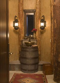 Fantastic idea for a rustic sink. Love the colors and textures.