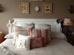 My beautiful bed using Traditions Louisa coverlet and shams along with some vintage pillows! I love it! #bonsreves #sweetdreams