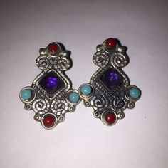 Turquoise Red Coral Sterling Earrings Amethyst by BargainBitz Sterling Silver Earrings, 925 Silver, Red Coral, Turquoise, Black Friday Specials, Southwestern Jewelry, Purple Amethyst, Diamond Cuts, Gifts