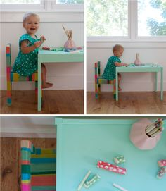 Ikea table repainted and chairs covered in yarn. Kids Decor, Diy Home Decor, Furniture Makeover, Diy Furniture, Play Corner, Ikea Table, Toddler Rooms, Crafty Kids, Kids Room Design