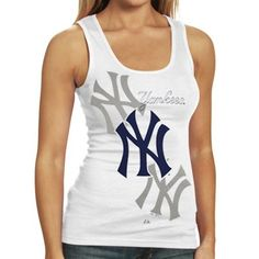 Majestic New York Yankees Ladies White Pearl Tank Top Yankees Outfit c98157319e3