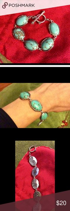 Lucky Brand solid toggle bracelet Turquoise & silver ...nice clean lines not too big not heavy , but solid piece. Flawless & versatile Lucky Brand Jewelry Bracelets