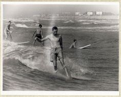 Vintage 1967 B&W Photo Surfing Galveston Island by GipsyStyle, $20.00
