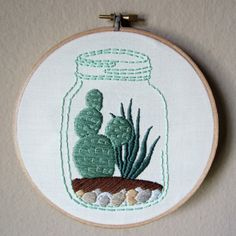Hand embroidered succulent and cactus terrarium in vintage mason jar in 6 inch hoop, succulents garden embroidery hoop art, 6 inch hoop,