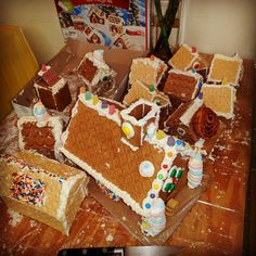 More sugar! More crunch for the stomping!! This is about 40% of the gingerbread real estate that we intend to destroy.