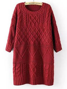 Long section of side slit up high quality diamond lattice sweater BD-X6952