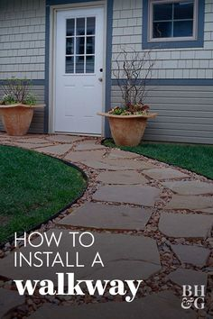 Use flagstones to bring natural beauty to your walkway. This handsome and durable flagstone walkway makes a great addition to any yard. Follow these steps to learn how to build a walkway. #walkwayinstallation #gardenwalkway #landscaping #gardenideas #bhg Lawn Edging, Garden Edging, Landscaping Tips, Front Yard Landscaping, Flagstone Walkway, Outdoor Ideas, Outdoor Decor, Mailbox, Pathways