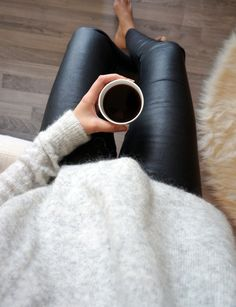 Fuzzy sweater // leather pants