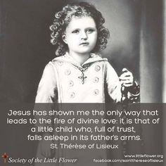 """Jesus has shown me the only way that leads to the fire of divine love. It is that of a little child, who so full of trust, falls asleep in it's Fathers arms."" - St Therese of Lisieux Catholic Quotes, Catholic Prayers, Catholic Saints, Religious Quotes, Roman Catholic, Sainte Therese De Lisieux, Saint Quotes, Santa Teresa, Blessed Mother"