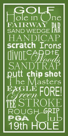 Golf Terms -  Subway Sign Art Typography Print 10x20. $23.00, via Etsy.