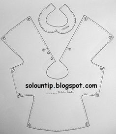 Basic shape for dress. Could be adapted to make a top or a coat. Sewing Doll Clothes, Sewing Dolls, Doll Clothes Patterns, Girl Doll Clothes, Barbie Clothes, Girl Dolls, Baby Dolls, Sewing For Kids, Baby Sewing
