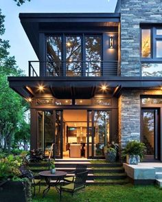 Metal wood and stone contemporary w dark trim.
