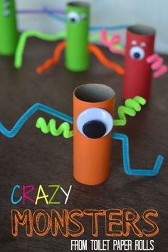 These little monsters are so cute. The kids would love making these out of our empty toilet paper tolls. These little monsters are so cute. The kids would love making these out of our empty toilet paper tolls. Craft Activities For Kids, Toddler Preschool, Toddler Crafts, Preschool Crafts, Projects For Kids, Art Projects, Craft Ideas, Preschool Kindergarten, Kid Crafts