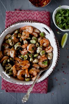 Skillet-roasted shrips with fava beans