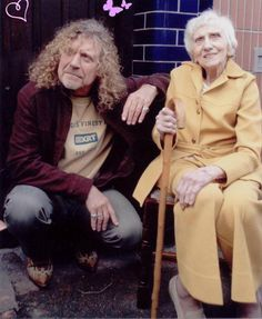 Robert Plant with his mom on her birthday. So sweet!