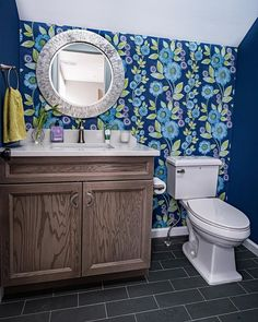How awesome is this wallpaper? We love the way this whimsical powder room came out Bathroom Trends, Bathroom Renovations, Modern Bathroom, Bathroom Designs, Weathered Furniture, Home Trends, Home Additions, Do It Yourself Home, Living Room Kitchen